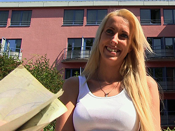 PublicAgent - Slim blonde cheats on hubby for cash in public