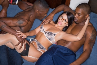 Blacked - Brunette Babe Takes Trio of BBCs Adriana Chechik, Isiah Maxwell & Jason Brown