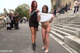 Public Disgrace - Silvia Rubi, Alexa Nasha Bound Teen Alexa Nasha is Fucked Before a Chanting Crowd Part 1
