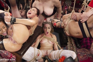 TheUpperFloor - Aiden Starr, Kira Noir, Melissa Moore Nympho Slave Slut Soaks The Folsom Orgy with Squirt