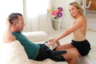 SpyFam - Brett Rossi Horny Stepmom Massages Stepson's Huge Cock