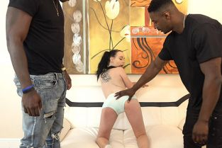 HussieAuditions - Bambi Black Tiny teen destroyed by two giant black dudes